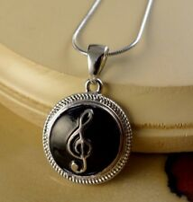 MUSIC NOTE black metal snap button pendant necklace gifts women girls jewelry