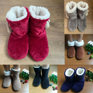 Ladies Womens Slippers Full Bootie Boots Faux Fur Shoes Sizes 3-8