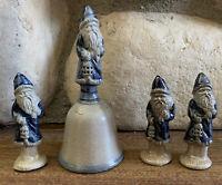 Rowe Pottery Works Salt Glazed (1) Santa Bell 1991 (3) Lantern Ornaments 1987