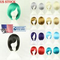 US Fashion Short Bob Type Wig Cosplay Party Straight Hair Full Wigs Fancy Dress