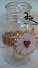 12 Rustic Burlap Pink Mason Jar Candle Centerpiece Wedding Decorations Wraps N21