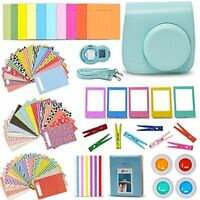 Xtech Fuji Instax Mini 9/8 Accessories Kit w/ Ice Blue Case, Stickers, Album