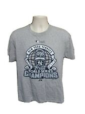 2009 New York Yankees 27 Time World Series Champions Adult Medium Gray TShirt
