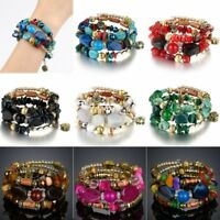 Multilayer Natural Stone Crystal Bangle Women Party Beaded Bracelet Jewelry Gift