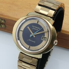 Vintage Wittnauer Geneve Dynamic Automatic Watch Date GoldTone Rare Running 41mm