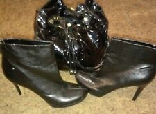 FRANCO SARTO A-LUSTRE Womens BLACK LEATHER Ankle Boots Size 9