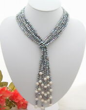 White Pearl Necklace 3Strds 46'' Gray