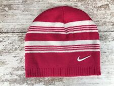 Nike Girls Knit Beanie Hat White Pink Stripe Snow Skiing Winter Youth 7-16