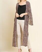New Umgee Duster Kimono Cardigan L Large Dusty Pink Animal Leopard Boho Peasant
