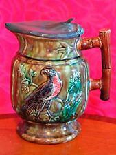 Antique Majolica Ceramic Jug with Pewter Lid