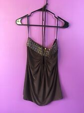 """Unica - Brown Tube Tied Top - Size M Length 19.5"""""""