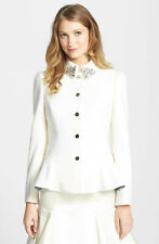 TED BAKER cream embellished peplum jacket dress coat full skirt fit & flare 1 8