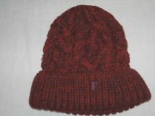 cf92f6674d1 FRENCH CONNECTION FCUK Chunky Cable Knit Wool Blend Beanie Hat Merlot Red
