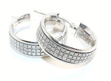 9CT HALLMARKED POLISHED WHITE GOLD STARSHINE 18MM X 6MM ROUND HOOP EARRINGS