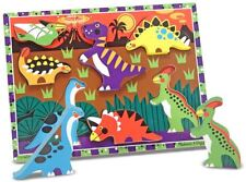 Melissa & Doug CHUNKY WOODEN PUZZLE/JIGSAW DINOSAUR Infant/Toddler Toy/Game BN