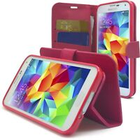 Housse Etui Folio Porte Cartes Galaxy S5 (i9600) «Texture» Rose