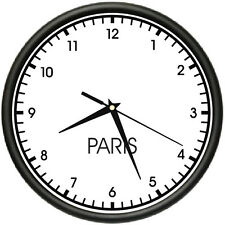 PARIS TIME Wall Clock world time zone clock office business