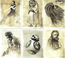 Star Wars : The Last Jedi S1 Complete 11 TLJ Illustrated SW1 - SW11 Card Set
