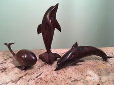 VINTAGE Hand Carved Wooden Dolphin Statue Sculpture Dark Wood Tone