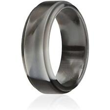 Silicone Wedding Ring Men By, Singles Rubber Band Step Edge - Black Camo Size 9