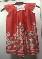Origami Baby Girls Size 0 Hot Peach Floral Dress New BNWT