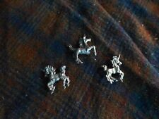 "Vintage UNICORN MYTHICAL 1"" Pewter Figurine Lot Of 3 Rare !"