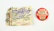 Vintage 1939 Pa Pennsylvania Fishing License Button With Matching Paper License