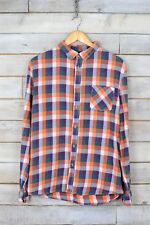 Vintage Naranja & Lila de cuadros camisa de franela (M)
