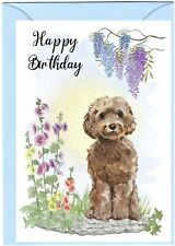 """Cockapoo/Doodle Dog (4""""x 6"""") Birthday Card with blank inside - by Starprint"""