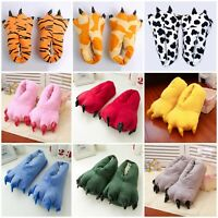 Adults Kids Dinosaur Animal Paw Home Slippers Winter Indoor Plush Warm Shoes New