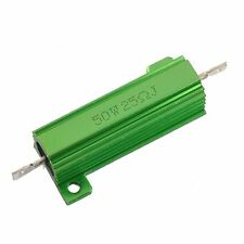 Aluminum Case 50W 25 Ohm Chassis Mounted Wirewound Resistor Green