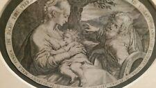 Jan Sadeler 1550-1600 Engraving of The Holly Family with Appraisal.  Mat & Frame