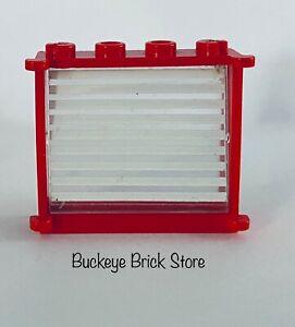 Lego Red Window Frame 1x4x3 w/ 9 White Stripe Pattern - 6368 6364