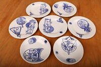 Siamese R.H.&S. 5 Bread or Salad Plates 2 Bowls Blue Asian Patterns