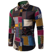 Fashion Mens Casual Long Sleeve Shirt Business Slim Fit Shirt Print Blouse Top