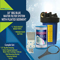 """10"""" Big Blue Whole House System with 4.5x10"""" Pleated Sediment Water Filter"""
