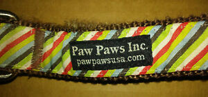 Bark Alley Dog Collar - Side Walk Stripe-size large - paw paws inc.