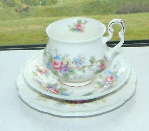 Royal Albert Victoria Shape Colleen Pattern  1 x Trio Cup Saucer Plate