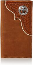 Nocona Mens Basketweave Overlay Cross Concho Leather Rodeo Wallet (Brown)