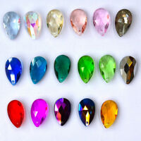 10Pcs Faceted Teardrop Glass Crystal Beads Pendants Jewelry Making Acces Crafts