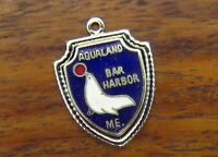 Vintage silver MAINE STATE BAR HARBOR AQUALAND SEAL TRAVEL SHIELD charm #E9