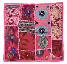 """Indian Ethnic Cushion Cover Covers Embroidery Cotton Sofa Decor 16x16"""" Pink Sham"""