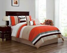 7 Piece Luxury Microfiber Bedding Comforter Sets Bed In A Bag, Queen Size,Orange
