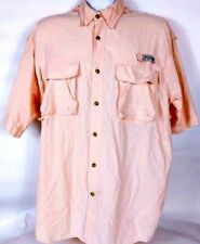 Bimini Bay Men's Fishing Shirt Large Salmon Pink Vented Mesh Short Sleeve