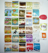 Starbucks Coffee Sticker LOT of 33 Different Stamps Stickers Blends   FREE SHIP