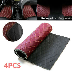4PCS Leather Car Floor Mats Carpets Waterproof Pads Liners Set Wine Red Styling