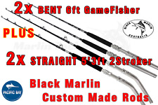 4x 24kg Standup Game Fishing Rods 2x6ft BENT 2x5'3ft STRAIGHT trolling lures etc