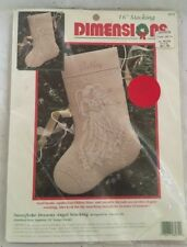 "NOS DIMENSIONS SNOWFLAKE DREAMS ANGEL 16"" Christmas Crewel Stocking Kit 1995"