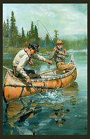 "1912 Philip Goodwin, Print, Fishing scene, antique, Hunting, 20""x12"" Art Print"