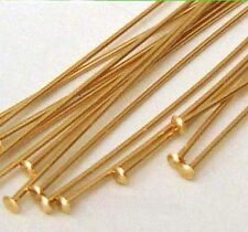 "50pcs 24 gauge 14K Gold Filled Flat cupped head pin Headpin 1.5""  made USA GF04"